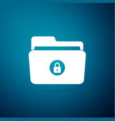 locked folder icon isolated on blue background vector image