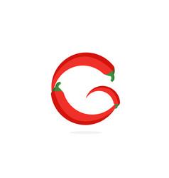 Logo red chili pepper letter g vector