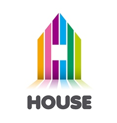 logo striped colorful house vector image