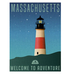 massachusetts united states travel poster vector image