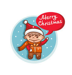 merry christmas flat icon with santa claus helper vector image