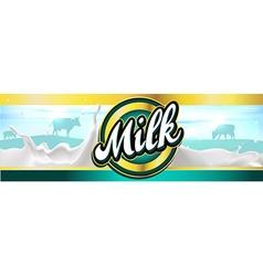 Milk label design banner with milk splash vector