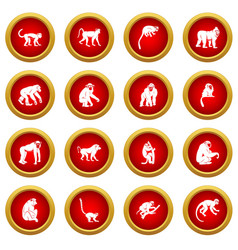 Monkey types icon red circle set vector