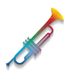 Musical instrument trumpet sign colorful vector