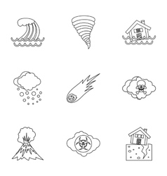 Natural emergency icons set outline style vector image