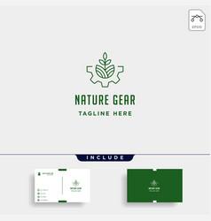 Nature gear logo farm industry line icon symbol vector