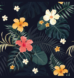 night tropical pattern seamless black background vector image