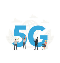 office people standing around a big letters 5g vector image