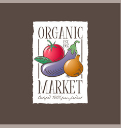 organic market logo vegetables label healthy food vector image
