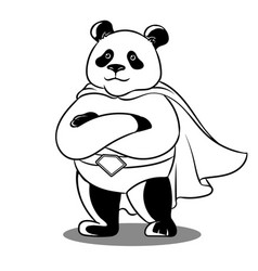 Panda superhero coloring vector