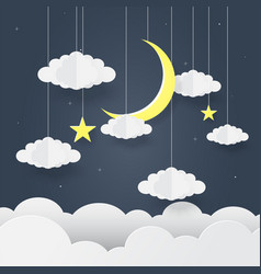 paper art goodnight and sweet dream night vector image