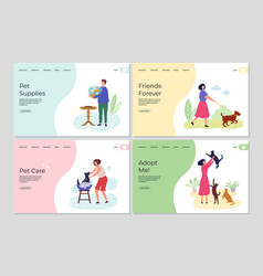 pets landing pages people caring about animals vector image