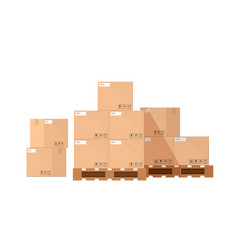 pile or stack cardboard or carton boxes on vector image