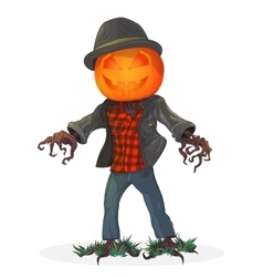Pumpkin scarecrow for the holiday vector image