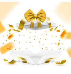 Realistic surprise gift box with golden falling vector