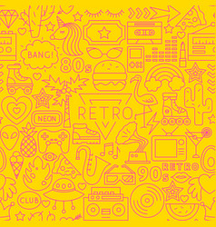 retro line seamless pattern vector image