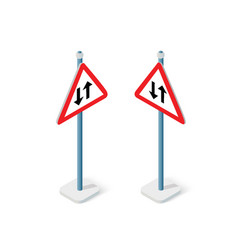 road signs isometric set street object vector image