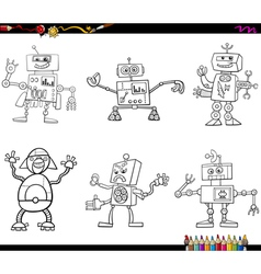 robot characters coloring page vector image