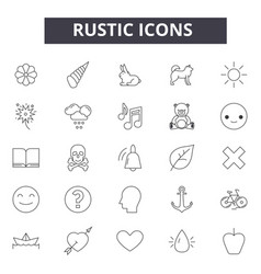 rustic line icons signs set outline vector image