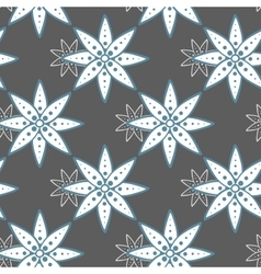 Seamless Pattern Blue Flowers On Gray vector