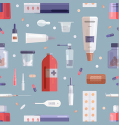 seamless pattern with pills drugs medications in vector image