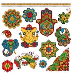 set indian symbols for design vector image