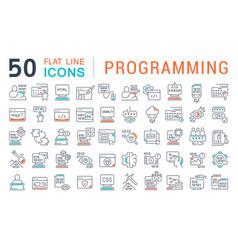set line icons programming vector image