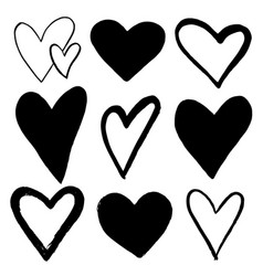 set of black hand drawn hearts on white background vector image