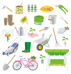set of colorful gardening icon vector image