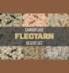 Set of desert flectarn camouflage seamless pattern vector