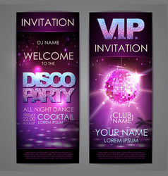 set of disco background banners disco party poster vector image
