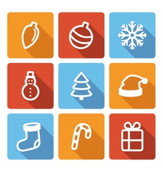 Set of flat christmas icons with long shadow vector image