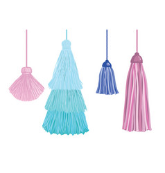 Set of fun decorative tassels hanging from vector