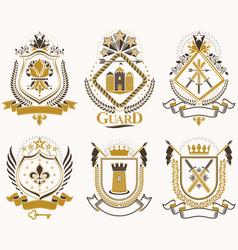 Set retro vintage insignias created vector