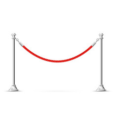 Silver barricade with red rope - barrier rope vip vector