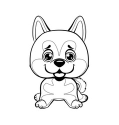 sitting akita inu lovely linear dog vector image