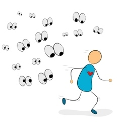 Social phobia get away from all eyes vector image