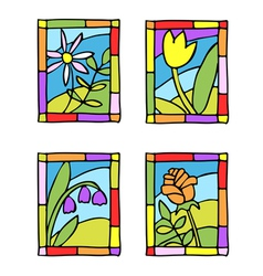 spring flower stained glass vector image