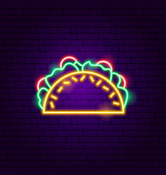 tacos neon sign vector image