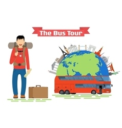 Tourist goes to The Bus Tour of popular familiar vector