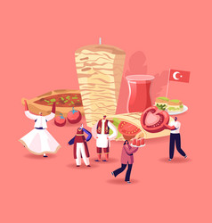 Traditional turkish cuisine concept people in vector