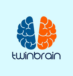 Twin brain photography logo design template blue vector