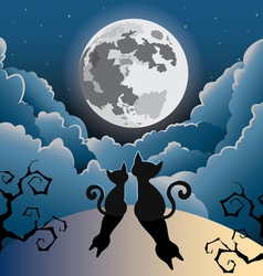 Two cute kitty cat under full moon vector