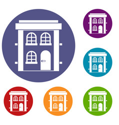 Two-storey residential house icons set vector