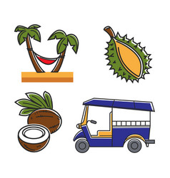 Vacation in tropical country themed isolated vector