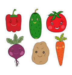 vegetables set in kawaii style vector image