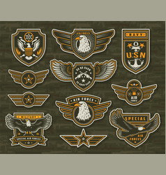 Vintage armed forces insignias and badges vector