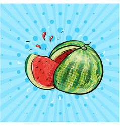 watermelon with slice and juice pop art comic vector image vector image