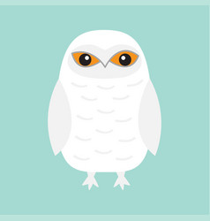 white snowy owl sitting bird with wings snow barn vector image