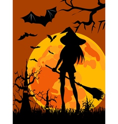 Witch silhouette halloween vector